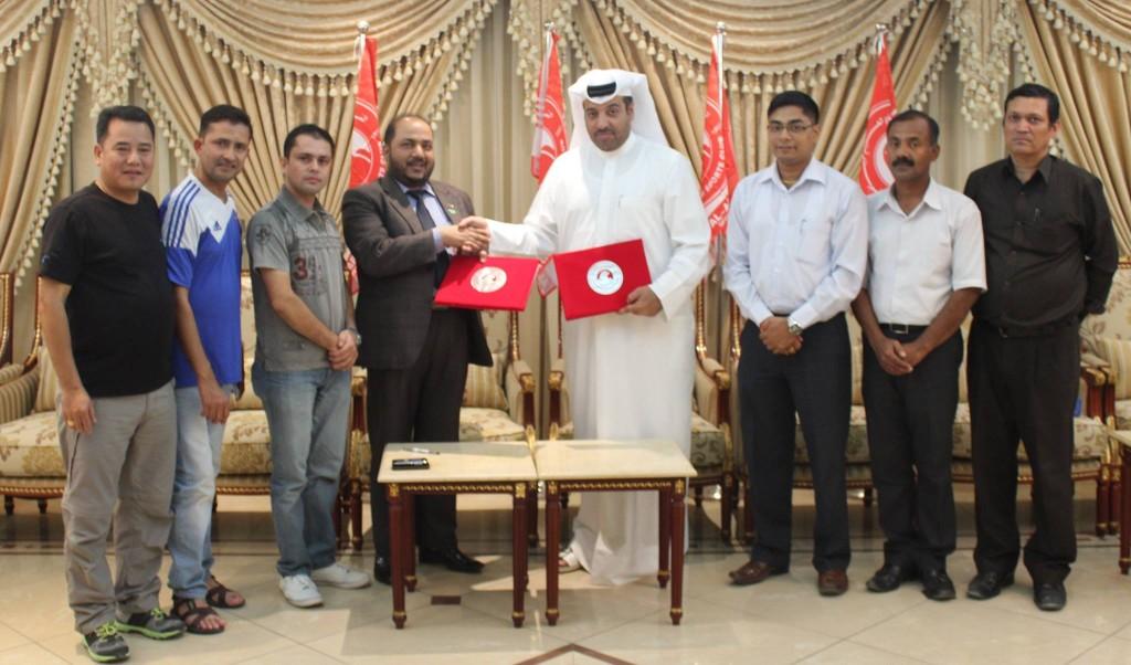 अलअरबी स्पोर्ट क्लबसँग आपसी समझदारी पत्रमा हस्ताक्षर १० नोभेम्बर २०१४